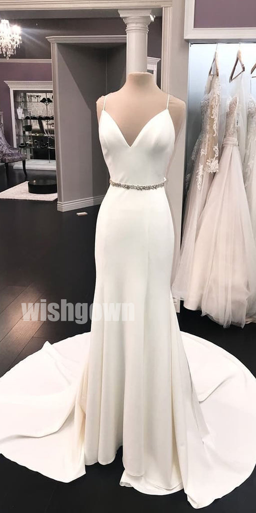 Spaghetti Strap Iovry Simple Long Wedding Dresses with Bow YH1117
