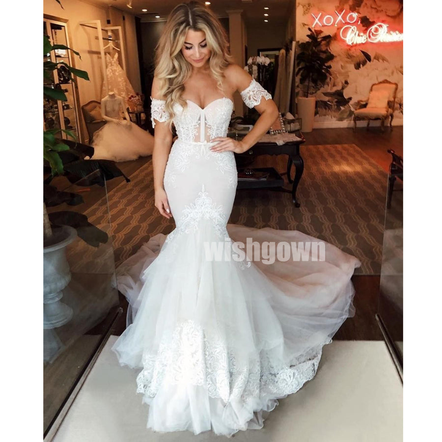 Sweetheart Mermaid Lace Tulle Long Wedding Dresses YH1118