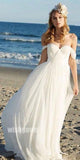 Off the Shoulder Sweetheart Chiffon Simple Long Beach Wedding Dresses, STZ312
