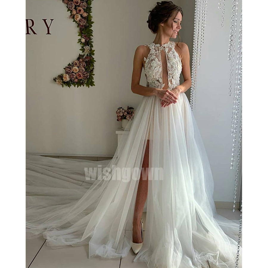 Sexy Side Split Lace Tulle Long Wedding Dresses YH1120