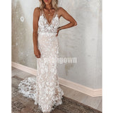 V-neck Mermaid Lace Tulle Long Wedding Dresses YH1121