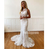 Halter Mermaid Lace Tulle Long Wedding Dresses YH1122
