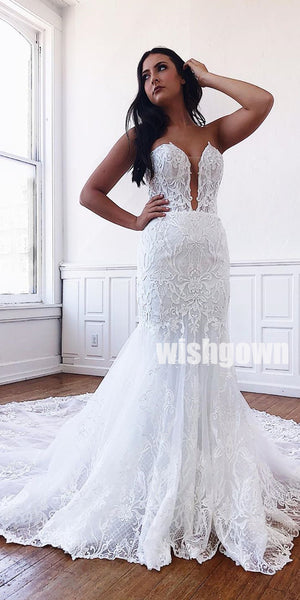 Sweetheart Mermaid Lace Tulle Long Wedding Dresses YH1123