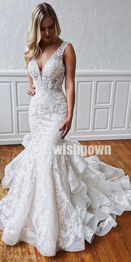 Lace Mermaid Open Back Long Wedding Dresses YH1111