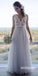 Simple A Line Lace Top Tulle Skirt Cheap Long Beach Wedding Dresses, STZ313