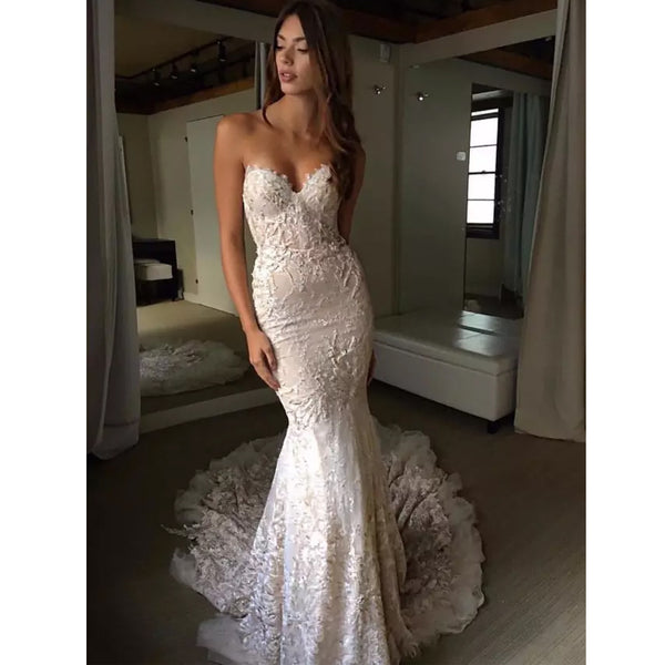 Elegant Mermaid Lace Sweetheart Inexpensive Long Wedding Bridal Dresses Gown, WG629 - Wish Gown