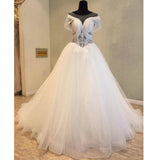 Charming Unique Cap Sleeves Cheap Bridal Long Wedding Dresses, WG1239 - Wish Gown