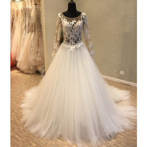 Long Sleeves Popular Applique Tulle Long Cheap Bridal Wedding Dress, WG696
