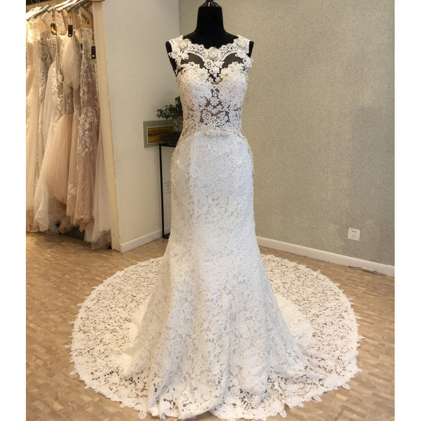 Memraid Open Back Lace Long Cheap Wedding Dress, WG689