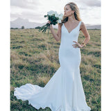 Elegant Simple Cheap Long Mermaid Bridal Wedding Dresses, STZ314 - Wish Gown