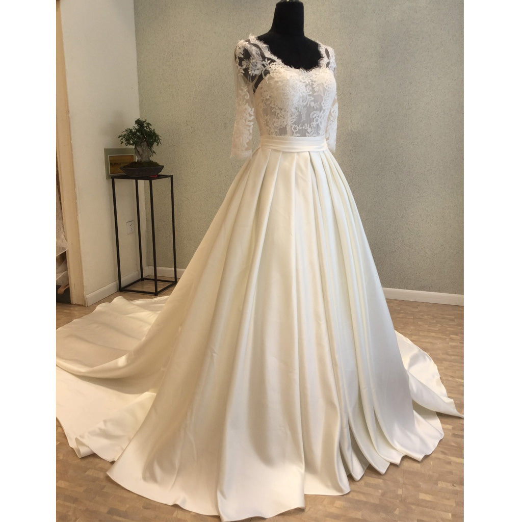 Half Sleeves Open Back Long Brides Wedding Dresses with Lace Up Back, WG1222