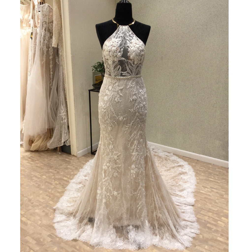 Affordable Unique Haler Mermaid Open Back Long Cheap Wedding Dress, WG686 - Wish Gown