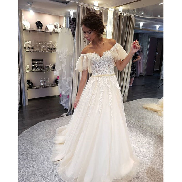 Charming Off the Shoulder Lace Affordable Long Brides Wedding Dresses, WG659 - Wish Gown