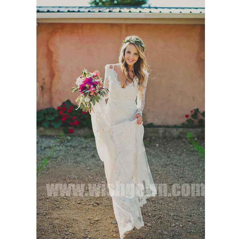 Long Sleeves Cheap Formal Beach Lace Bridal Long Wedding Dresses, BW1510