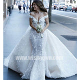 Off the Shoulder Luxury Applique Mermaid Fashion Long Wedding Dresses, BW1511