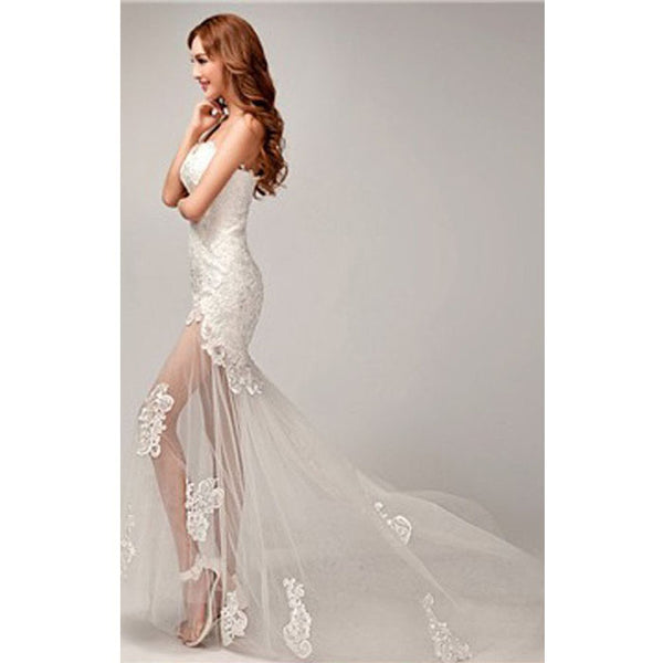 88cad3de88797f Chic Design One Shoulder Lace Top See Through Sexy Mermaid Lace Up Wedding  Dresses