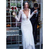 Long Sleeves V Neck Lace Charming Affordable Mermaid Long Wedding Dresses, WG674