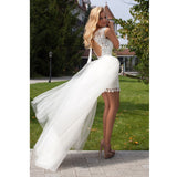 Lovely Two Pieces Lace Backless Bridal Short Cheap Wedding Dresses, WD0087