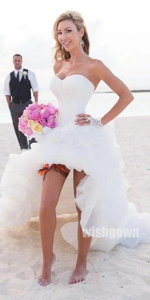 Sweetheart High Low Strapless Bridal Beach Wedding Dresses, STZ316