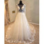 Beautiful Long Sleeves V Back Tulle Applique Affordable Long Wedding Dress, WG1204 - Wish Gown