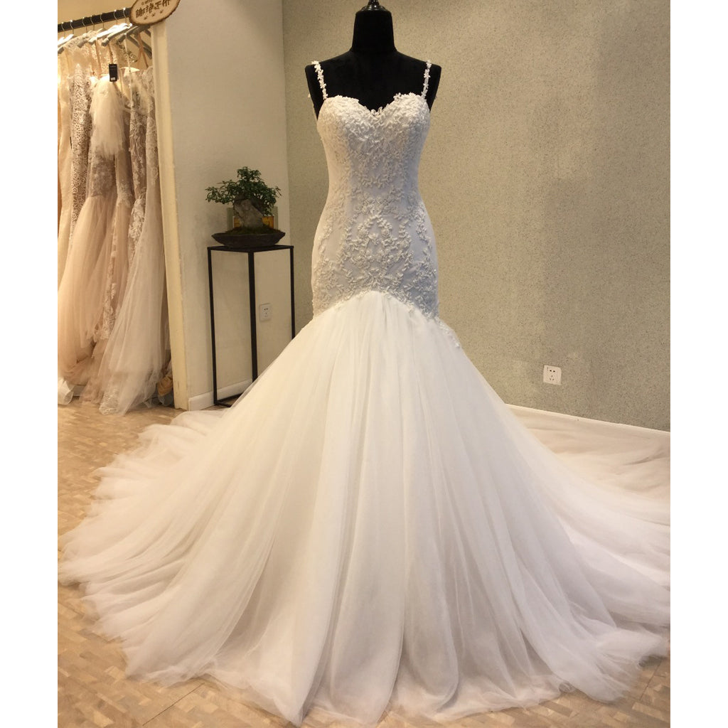 Spaghetti Strap Open Back Mermaid Charming Long Wedding Dress for Brides, WG1208