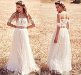Off the Shoulder Two Pieces Charming Long Wedding Dresses For Beach Wedding, WD0047