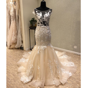 Cap Sleeves Mermaid Backless Sexy See Through Bridal Long Wedding Dresses, WG1242