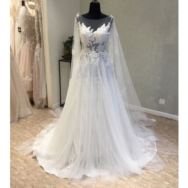 Affordable Tulle Applique Charming Long Brides Wedding Dresses, WG1218 - Wish Gown