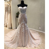 Sweetheart Mermaid Lace Up Back Inexpensive Long Wedding Dress, WG699