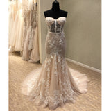 Sexy Mermaid Sweetheart Lace Long Cheap Bridal Wedding Dress, WG692