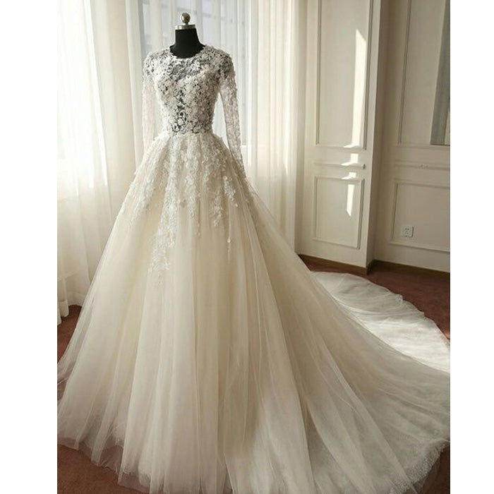 Charming Long Sleeves Tulle Applique Affordable Long Wedding Dresses, WG1246 - Wish Gown