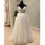 Spaghetti Strap Formal Simple Long Beach Cheap Bridal Wedding Dress, WG697