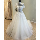 Short Sleeves High Neck Charming Long Wedding Dresses, WG1233