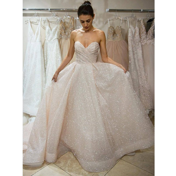 Sparkle Popular Sweetheart Simple Cheap Long Bridal Wedding Dresses, WD0145