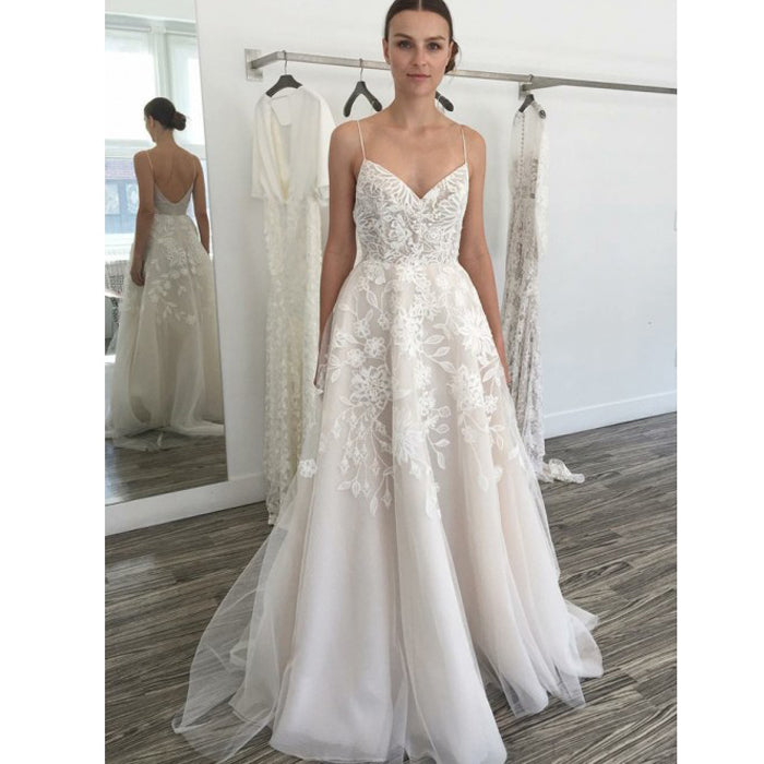 Ivory Lace Spaghetti Strap Charming Beach Long Wedding Dresses, WG1245
