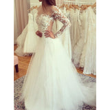 Lace Long Sleeves Formal Cheap Bridal Long Wedding Dresses, BW157