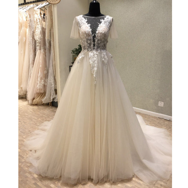 Affordable Short Sleeves V Back Elegant Long Wedding Dresses, WG1230 - Wish Gown