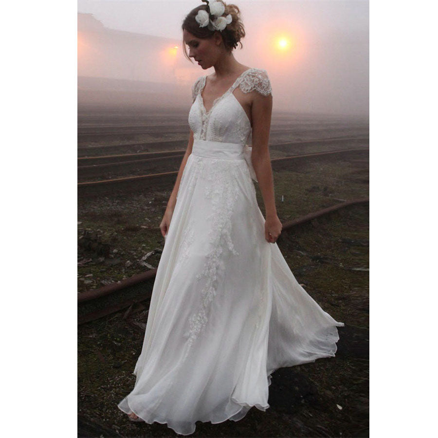 Cap Sleeve Lace Charming Open Back Formal Long Cheap Wedding Dresses, WD0157 - Wish Gown