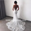 Open Back Spaghetti Strap Mermaid Lace Long Wedding Dresses, BW1513