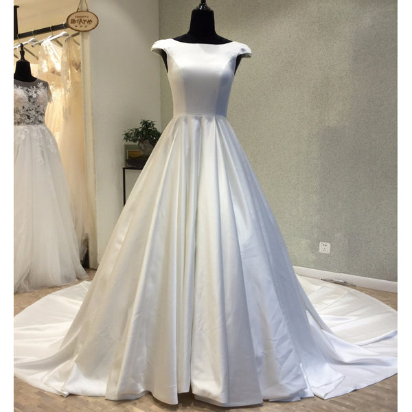 Cap Sleeves Simple Satin Open Back Lace Up Back Cheap Wedding Dress, WG698 - Wish Gown