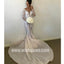 Charming Unique Long Sleeves Applique Mermaid Long Wedding Dresses, BW1512