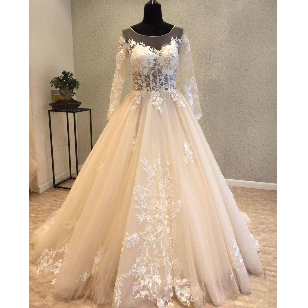 Long Sleeves Tulle Applique Charming Long V Back Bridal Wedding Dress, WG679