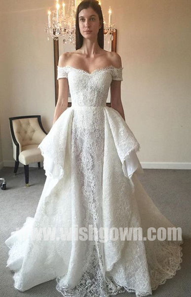Off the Shoulder Inexpensive Elegant Lace Cheap Long Bridal Wedding Dresses, BW155