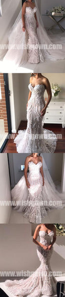 Charming Sweetheart Mermaid Lace Long Bridal Wedding Dresses, BW1514 - Wish Gown