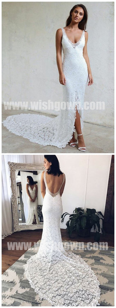 Open Back Mermaid Lace Split Elegant Inexpensive Long Wedding Dresses, BW158