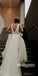 Charming V Neck Organza Applique V Back Long Wedding Dress for Brides, YH1126