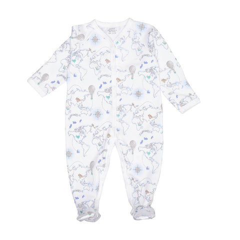 Livly Simplicity Babygro Blue World Map