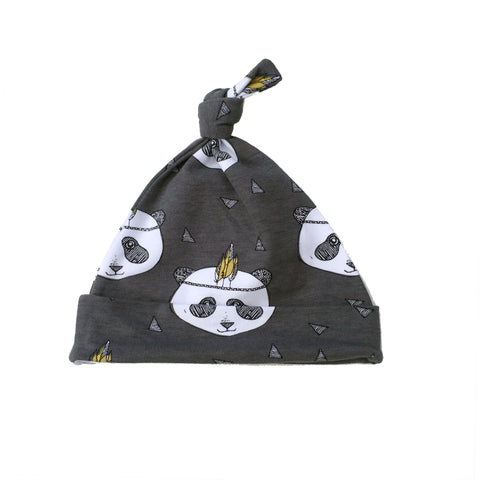 Fred & Noah Grey Panda Knotted Hat