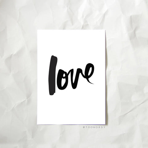 Too Wordy 'Love' A4 Nursery Print