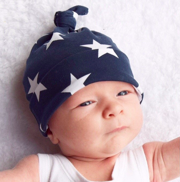 Fred & Noah Navy Star Knotted Hat